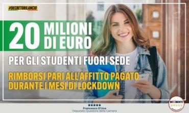 20 milioni di euro per gli studenti fuori sede