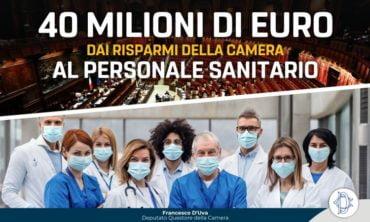 40 milioni di euro dai risparmi della Camera al personale sanitario