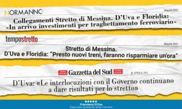 """Collegamenti Stretto di Messina, D'Uva e Floridia: """"In arrivo investimenti con PNRR: Ricevute garanzie dal Ministero"""""""